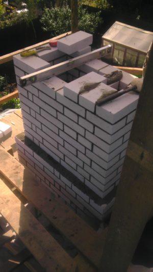 кладка трубы из кирпича над крышей